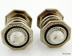 Wonderful pair of genuine art deco cufflinks! Vintage 1920's Silver Tone Snap Link Art Deco Cufflinks with White Speckled Stone | The Tie Chest