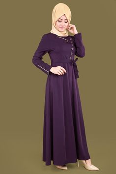 Halka Detay Ferace AH3040 Mürdüm Abaya Fashion, Modest Fashion, Estilo Abaya, Moslem Fashion, Maxi Skirt Style, Piercings, Hijab Dress, Moda Emo, The Dress