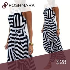 Geo Printed Black White Striped Halter MAXI DRESS BRAND NEW!! Geo Printed Halter Maxi DRESS with a black & white geometric pattern, halter style neckline with elasticized back, adjustable tie at waist, & full flowy Skirt.   🌟🌟Item is Brand New, direct from the Manufacturer, & Sealed in Pkg. 🌟🌟 Dresses Maxi
