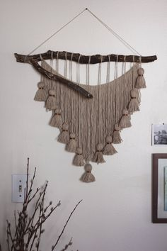 Salvaged FL Wood & Tassel Wall Hanging One of a Kind Salvaged Florida Wood & Tassel Wall Hanging Cotton Yarn in Jute Yarn Wall Art, Yarn Wall Hanging, Diy Wall Art, Wall Hangings, Macrame Wall Hanging Patterns, Macrame Patterns, Driftwood Crafts, Macrame Projects, Wood Projects