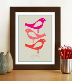 Midcentury style poster print Three Little by visualphilosophy, $24.99