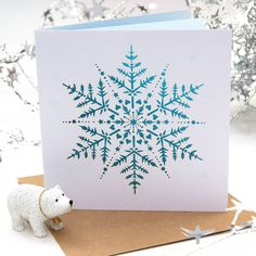 Christmas Snowflake Ice Blue Laser Cut Card by THE HUMMINGBIRD CARD COMPANY