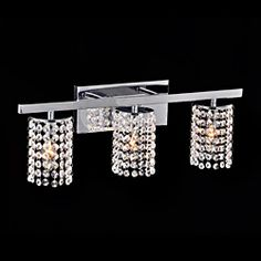 Otis Designs Chrome and Crystal 3-light Round Shade Wall Sconce: Over make up table in K's bath