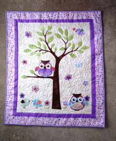 Purple Owl and Birds Baby Quilt by AlaskidsandFriends on Etsy, $50.00