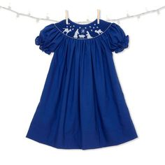 74672fd5f39 Blue Nativity Christmas Smocked Bishop Dress Dress Girl