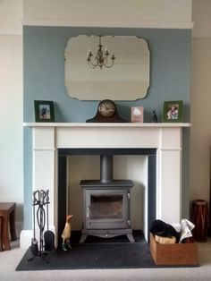 log burner fireplace surround ideas for living room - Bing images Victorian Living Room, Victorian Fireplace, 1930s House Interior Living Rooms, 1930s Fireplace, 1930s Living Room, Living Room With Fireplace, New Living Room, Living Room Duck Egg Blue, Log Burner Living Room