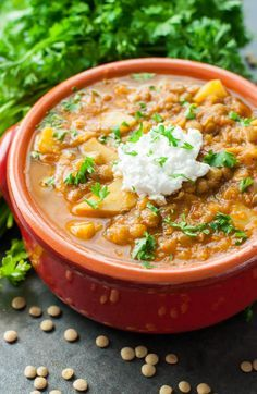 This healthy vegetarian madras lentil soup channels the flavor of my favorite crock-pot lentil dish in a delicious vegan soup! Gluten-free and delicious! Vegan Lentil Recipes, Vegan Soup, Vegetarian Recipes, Healthy Recipes, Healthy Soups, Fun Recipes, Healthy Eats, Delicious Recipes, Healthy Snacks