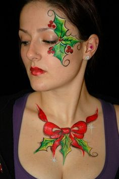 When you think about face painting designs, you probably think about simple kids face painting designs. Many people do not realize that face painting designs go Face Painting Tutorials, Face Painting Designs, Paint Designs, Body Painting, Reindeer Face Paint, Tinta Facial, Christmas Face Painting, Art Visage, Costume Makeup