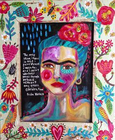 Folk Art Frida Kahlo Mixed Media on Etsy, $220.00