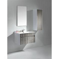 Kube Bath KubeBath Fitto 24-inch Ash Grey Single Sink Bathroom Vanity (High Gloss White with Ash Gray Drawers), Size Single Vanities