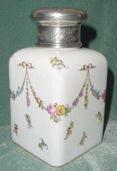 France Sevres Gold Painting Porcelain Sterling Mercury God Hallmark 1 Tea Caddy