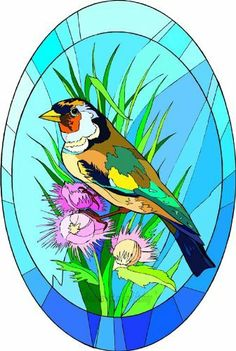 Window Art in Vinyl Etchings: Multi-Colored Wild Bird Sitting in Pink Wildflowers - Etched Vinyl Stained Glass Film, Static Cling Window Decal, Wild Birds