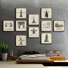 Construcción de europa y América set pintura decorativa murales de pared cuadros para la sala de estar marco de la pintura de aceite al por mayor