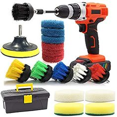 Top 9 Best Scrubbing Drill Brush Sets for Cleaning - 2019 GOH DODD Drill Brush and Scrub Pads, 20 Pieces Power Scrubber Set Small Cleaning Brushes with Long Reach Attachment in Big Tool Box for Carpet, Tile, Shower Track, and Grout Lines Grout Cleaner, Shower Cleaner, Brush Cleaner, Car Cleaning Hacks, House Cleaning Tips, Cleaning Brushes, Cleaning Supplies, Clean Shower Grout, Shower Tub