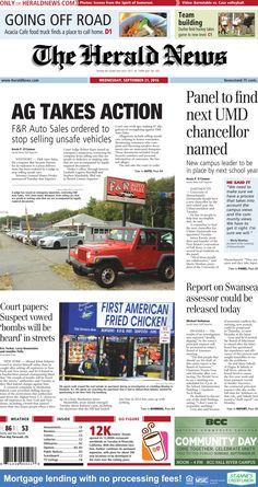 The front page of The Herald News for Wednesday, Sept. 21, 2016.