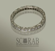 SCARAB's own Vintage inspired white gold and diamond eternity band. adorned with the most amazing engraving down the sides. Eternity Ring Diamond, Eternity Bands, Fine Jewelry, Jewelry Making, Unique Jewelry, Bespoke Jewellery, African Jewelry, Dream Ring, Sterling Silver Jewelry