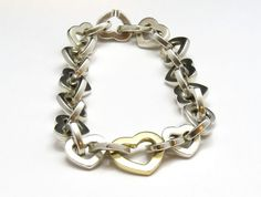 """Tiffany & Co Sterling Silver and 18K Yellow Gold 2000 Heart Link Bracelet  7.5"""" #TiffanyCo"""