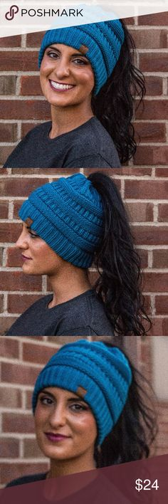 Teal Ponytail Beanie The hottest fall accessory!!! KK branded ponytail beanie. Wear it with a ponytail, a beanie, or as a regular beanie! 100% acrylic. 15 colors available. No trades. Kyoot Klothing Accessories Hair Accessories