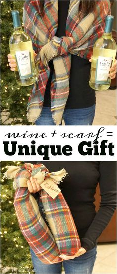 How to gift wine bottles in a scarf, I use this all the time!! Step by step of how to wrap wine bottles in a scarf to create a unique gift. via @thetypicalmom