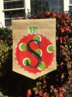 Burlap Garden Flag Christmas Ornament by ModernRusticGirl on Etsy
