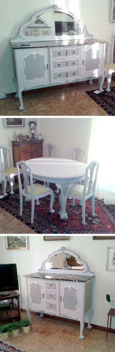 """Proyecto """"patas con garras"""". Dos cómodas clásicas pintadas a la tiza en tres tonos y envejecidas a la cera. Restauración y tapizado de sillas. Mesa y sillas pintadas a la tiza a dos tonos y envejecidas a la cera."""