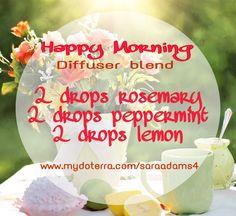 Diffuser Blend for dōTERRA essential oils #doterra #essentialoils #rosemary #peppermint #lemon
