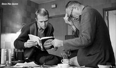 """Steve McQueen and director John Sturges discuss """"The Great Escape"""" at the Goldwyn Studio in Hollywood, CA 1960 © Sid Avery The Great Escape, Steve Mcqueen, Hollywood Stars, Good Old, Good Things, Black And White, Lady, Fictional Characters, Mc Queen"""