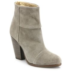 Rag & Bone Newbury Suede Ankle Boots ($515) ❤ liked on Polyvore featuring shoes, boots, ankle booties, apparel & accessories, warm grey, gray suede booties, grey booties, suede ankle boots, gray ankle boots and grey ankle boots