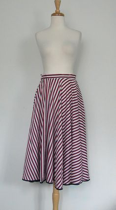 Nautical Skirt 1970s striped red white blue by roguegirlvintage, $34.00