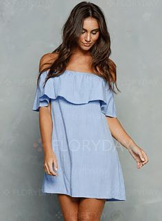 Dresses - $40.99 - Cotton Solid Cap Sleeve Mini Cute Dresses (1955121192)