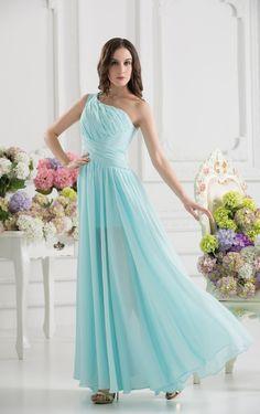Graceful One Shoulder Floor length Evening Dresses