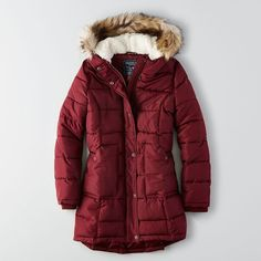 AEO Long Puffer Coat ($56) ❤ liked on Polyvore featuring outerwear, coats, summer coat, american eagle outfitters coats, puffy coat, puffer coat ve quilted coat