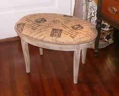 french burlap on bench