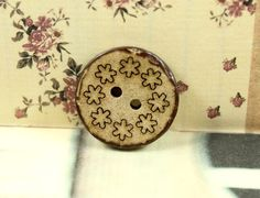 Wooden Buttons with Floret Wreath Carving,Antique feeling,  0.59 inch, 10 pieces in a set. by Lyanwood, $5.00