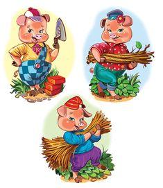 Main 566107 original Pig Illustration, Cute Cartoon Characters, Pig Art, Art Drawings For Kids, Three Little Pigs, Rock Painting Designs, Fairytale Art, Felt Patterns, Stories For Kids