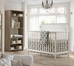 Liz and Roo's Grey Trellis Baby Bedding. Set or Separates. Made in USA. Shown on Beautiful Natart Provence Crib. http://lizandroo.com/collections/gender-neutral-baby-bedding/products/garden-gate-with-linen-bumperless-crib-bedding