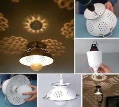 Creative Diy Chandelier Lamp And Lighting Ideas 55 image is part of 90 Fantastic Creative DIY Chandelier Lamp & Lighting Ideas gallery, you can read and see another amazing image 90 Fantastic Creative DIY Chandelier Lamp & Lighting Ideas on website Make A Lampshade, Lampshades, Colander Light, Diy Luz, Ideas Paso A Paso, Diy Casa, Chandelier Lamp, Pendant Lamp, Ceiling Lamp