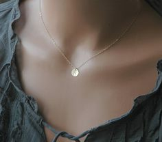 Gold Disc Necklace, Everyday Necklace, Hand Stamped Initial Necklace, Gold Circle Necklace, Bridesmaid Gifts, Simple Gold Necklace via Etsy