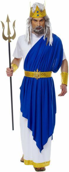 Neptune Adult Costume Poseidon Atlantis King Greek God Of Sea Mythology Triton King Triton Costume, Queen Costume, Little Mermaid Costumes, The Little Mermaid, Zeus Costume, Hulk Costume, Toga Costume, Adult Costumes