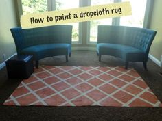 How to use a $12 dropcloth a Lowe's to create a rug -- and a link to several other painted rug tutorials, too.