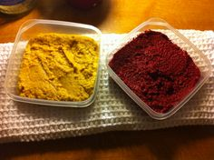 Beetroot hummus and carrot res peas hummus made by Ivka :)