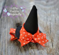 Halloween Witch Hat Hair Clip Bow perfect for last minute little girls costumes