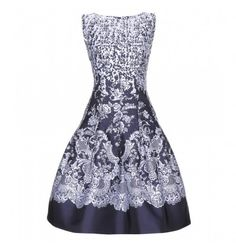 Blau-weißes Jacquard-Kleid By Oscar de la Renta