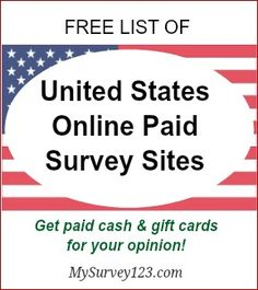 I have been taking online surveys for extra money since 2005 - and this is a list of best United States online paid survey sites that legit, free and actually pay! http://mysurvey123.com