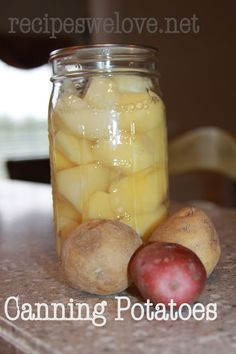 Recipes We Love: Canning Potatoes -- pressure canning  Use the Victorio Apple Peeler to make quick work of peeling your potatoes before canning.