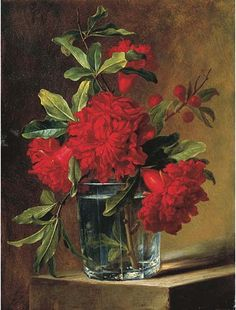 Elise Bruyere, Pomegranate Blossoms in a Glass Vase on a Stone Ledge, early 19th century