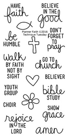 """TECHNIQUE TUESDAY: Planner Faith (2"""" x 4"""" Clear Photopolymer Stamp Set) This clear photopolymer stamp set is perfect for planners, calendars, reminders, pocket scrapbooks and cards. Set measures appro"""