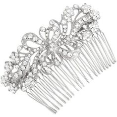 Vintage swirl ribbon and crystal flower hair comb