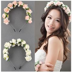 Flower Headband For Women Bride Floral Crown Rose Headband Flower Hair Garland Wedding Hair Accessories Wholesale Jewelry Wedding Headband, Flower Garland Wedding, Wedding Headdress, Flower Garlands, Headband Hair, Bride Headband, Hair Wedding, Diy Flower, Bridal Hair