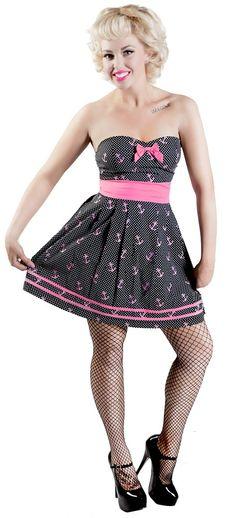 SOURPUSS SEAFARING DRESS BLACK AND PINK - Dresses - Gals